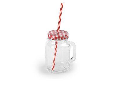 Staklena teglica sa poklopcem i slamkom, 420 ml